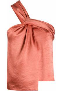 Nanushka Blusa Ombro Único De Cetim - Laranja