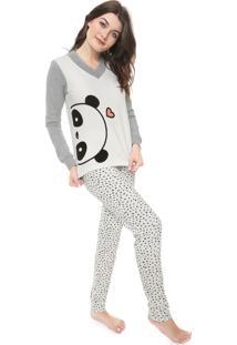 Pijama Cor Com Amor Panda Branco/Cinza