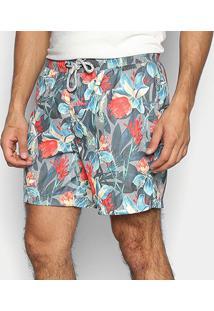 Shorts Jab Floral Masculino - Masculino-Cinza Claro