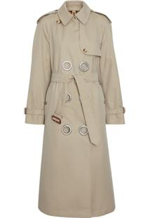 Burberry Trench Coat Com Ilhoses - Stone