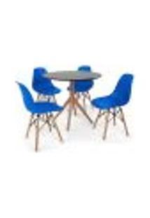 Conjunto Mesa De Jantar Maitê 80Cm Preta Com 4 Cadeiras Charles Eames - Azul