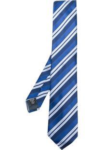 Ermenegildo Zegna Gravata Com Listra Diagonal - Azul