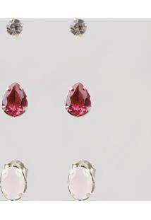 Kit De 3 Brincos Femininos Folheados Com Pedra Zircônia Rosa