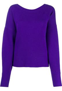 Isabel Marant Button-Back Blouson-Sleeved Cardigan - Roxo
