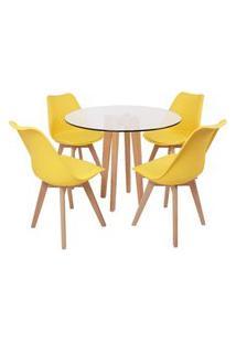 Conjunto Mesa De Jantar Em Vidro 90Cm Com Base Vértice + 4 Cadeiras Leda - Amarelo