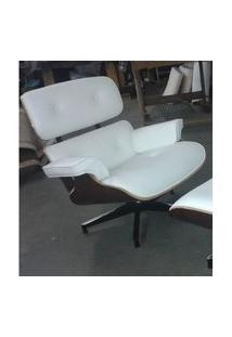 Poltrona Charles Eames Imbuia Couro Natural Branco 26600 26600