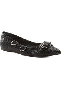 Sapatilha Shoestock Bico Fino Argolas Snake Feminina - Feminino-Preto