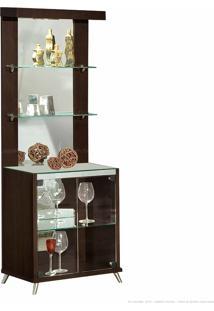 Cristaleira 2 Portas De Vidro Com Espelho, Led E Pés Palito Diamante 100% Mdf Imbuia - Móveis Forini