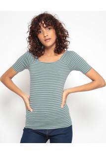 Blusa Listrada- Branca & Verde- Heringhering