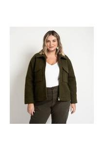 Jaqueta De Pelinhos Com Zíper E Bolsos Curve & Plus Size | Ashua Curve E Plus Size | Verde | Eg