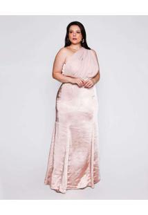 Vestido Almaria Plus Size Pianeta Longo Cetim Rosa
