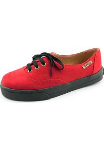 Tênis Quality Shoes Feminino 005 Camurça Vermelho Sola Preta 33