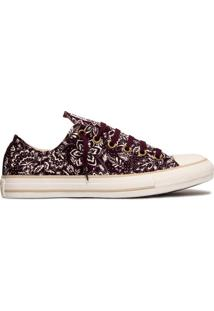 Tênis All Star Converse Ct As Print Flower Ox Vinho/ Bege