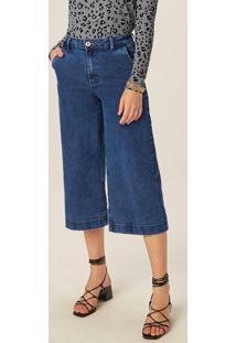 Calça Azul Pantacourt Jeans Cintura Alta