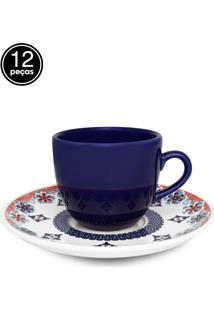 Conjunto 12Pçs Xícaras De Chá Oxford C/Pires Mail Order Coup Shanti Azul/Branco
