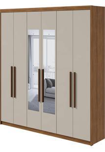 Guarda Roupa Libra 6 Portas Com Espelho Rovere Naturale/Off White