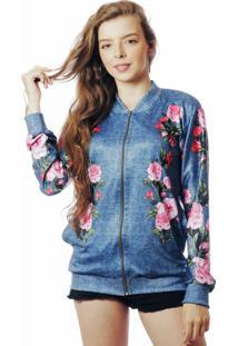 Jaqueta Bomber Floral Estampada Elephunk Full Print Rosas Fashion