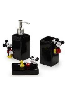 Jogo De Banho - Preto - Mickey Mouse - 03 Peças - Mabruk - Disney