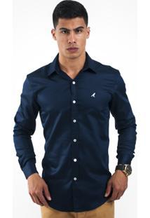 Camisa Social Horus Slim 1002 Masculina - Masculino-Azul