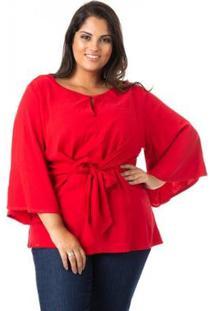 Blusa De Viscose Com Nó Plus Size Confidencial Extra Feminina - Feminino-Vermelho