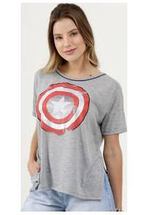 Blusa Feminina Estampa Capitão América Glitter Marvel