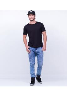Calça Skinny Em Jeans Marmorizado
