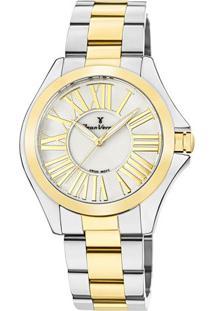 Relógio Analógico Jv01123- Prateado & Dourado- Jean Jean Vernier