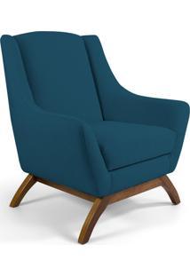 Poltrona Decorativa Sala De Estar Base De Madeira Naomi Algodão Azul Blazer - Gran Belo