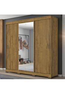 Guarda-Roupa Casal 3 Portas De Correr Com Espelho Nt5020 Rustico - Notavel