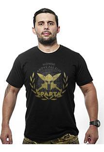 Camiseta Team Six Militar Molon Labe Estampa Dourada Preto