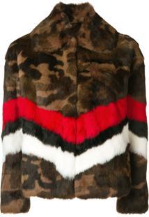 Msgm Camouflage Print Jacket - Marrom