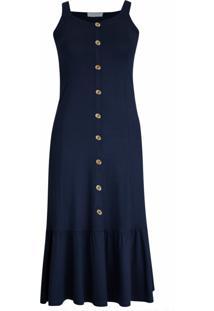Vestido Pau A Pique Longo Básico Azul Marinho