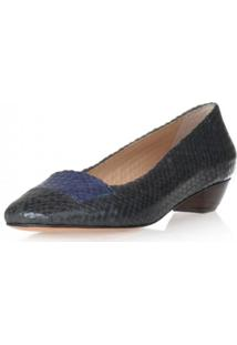 Scarpin Paola Constance Tresse Todo Sapato Azul Marinho
