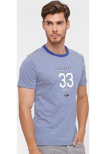 Camiseta Lacoste Slim Fit Listras Masculina - Masculino