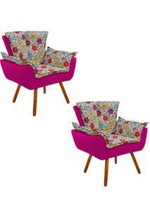 Kit 02 Poltrona Decorativa Opala Suede Composê Estampado Floral Color D17 E Suede Pink - D'Rossi