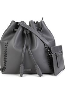 Bolsa Shoestock Bucket Tiras Feminina - Feminino-Cinza+Preto
