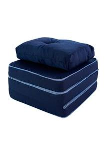 Puff Multiuso 3 Em 1 Solteiro Azul Com Travesseiro Bf Colchões