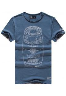 Camiseta Masculina Com Estampa Tomato Manga Curta - Azul