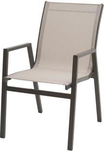 Cadeira Enseada Com Bracos Tela Bege Base Marrom - 38737 - Sun House