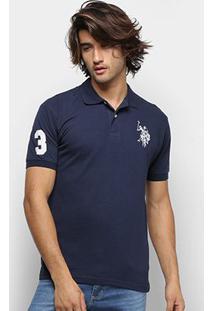 Camisa Polo U.S. Polo Assn Lisa Big Poney Masculina - Masculino-Azul Escuro