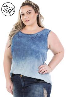 Regata Jeans Plus Size - Confidencial Extra Molly Com Bordado - Tricae
