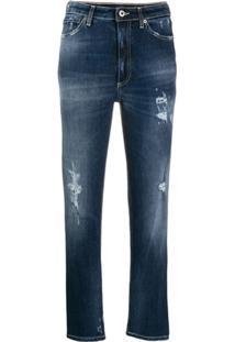 Dondup Calça Jeans Reta Cropped - Azul