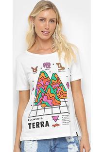 Camiseta Cantão Classic Terra Feminina - Feminino-Branco