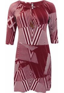 Vestido Pau A Pique 3/4 Estampado - Feminino-Vermelho Escuro
