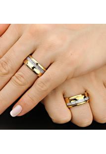 Aliança De Bodas Em Ouro Com Filete Em Ouro Branco - As0101