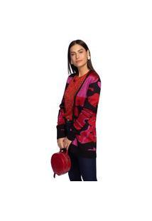 Cardigan Maria Valentina Tricot Camuflado Alongado Vermelho