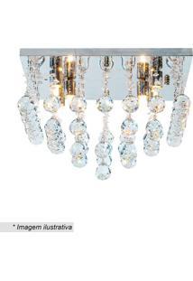 Plafon Quadrado Com Pingentes- Cristal- 28X40Cm-Hevvy