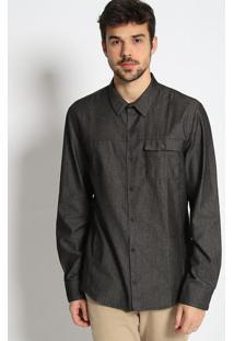 Camisa Slim Fit Em Sarja Com Aviamentos Metã¡Licos - Cinzcalvin Klein
