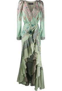 Etro Vestido Com Estampa Paisley E Babados - Verde