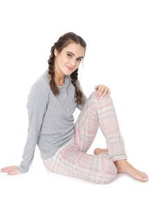 Pijama Laibel Xadrez Cinza/Rosa